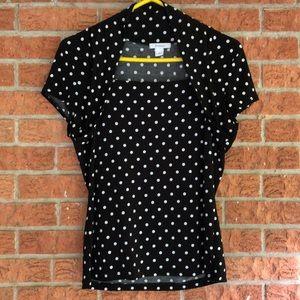 Dress Barn Black and white polka dot top